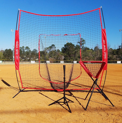 Red Softball Net Tee Ball Caddy