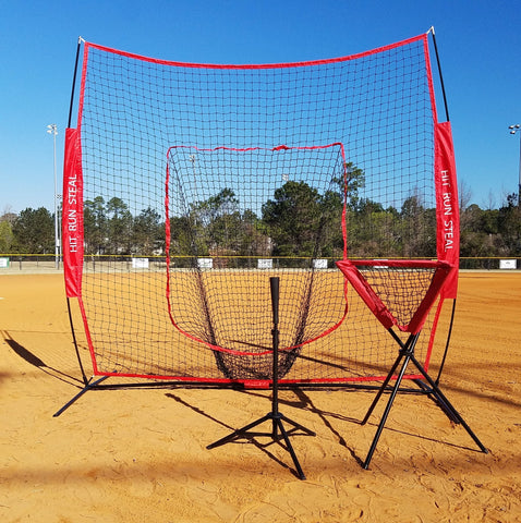 Baseball Softball Large Mouth Hitting Net -  7 x 7 Practice Net with Bow Frame LIFETIME WARRANTY With Portable Baseball Softball Tee And Ball Caddy