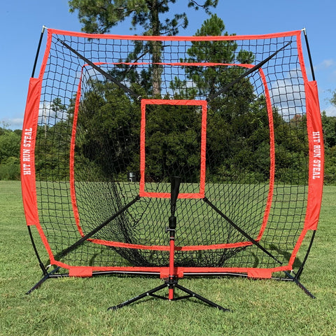 Large Mouth Hitting Net -  7 x 7 Practice Net with Bow Frame LIFETIME WARRANTY