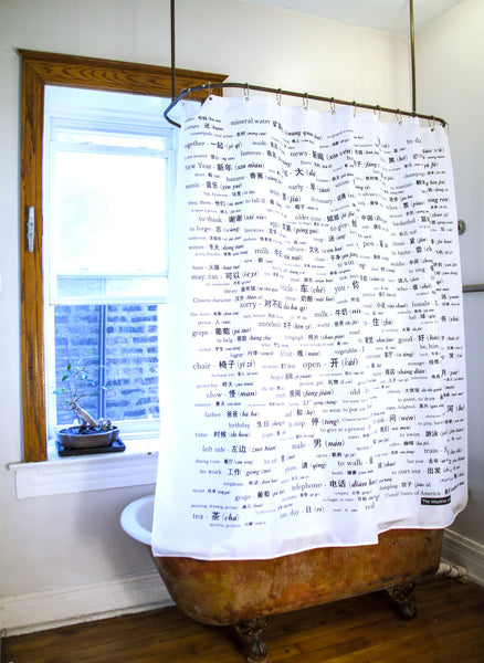 Chinese Vocabulary Shower Curtain