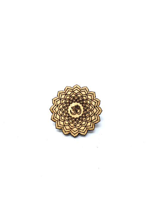 Wood Pin - Flower Om
