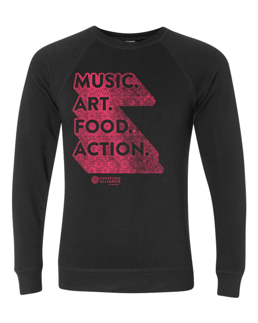 Music. Art. Food. Action. Crewneck Sweatshirt