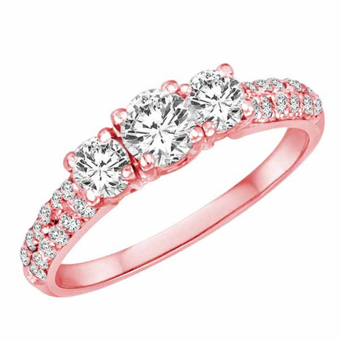 14k Rose Gold Three Stone Round Brilliant 1 Ct Diamond Ring