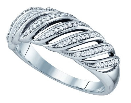10k White Gold 1/5 Ct Round Diamond Micro-Pave Wedding Band