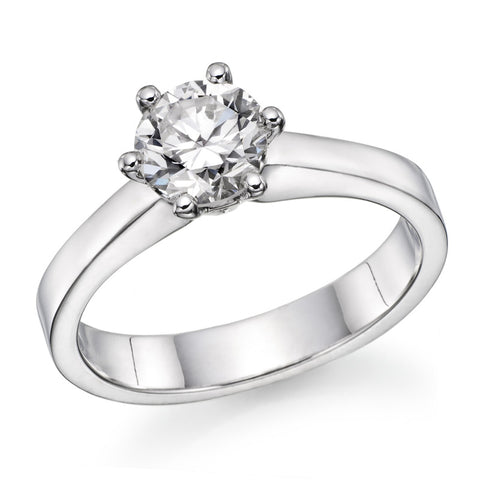 14k White Gold 0.65 Ct Round Diamond Six Prong Solitaire Ring