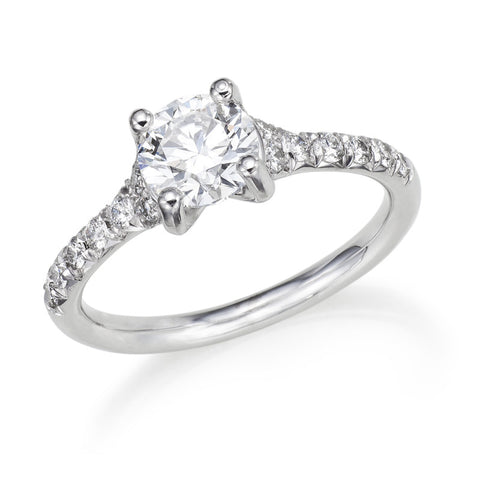 14k White Gold 0.72 Ct Round Diamond Solitaire Ring
