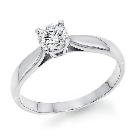 14k White Gold 0.65 Ct Round Diamond Solitaire Ring