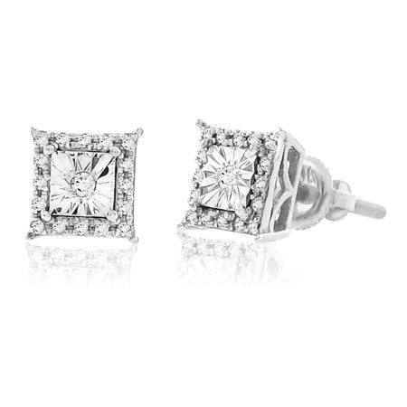 10k White Gold 0.08 Ct Diamond Earrings