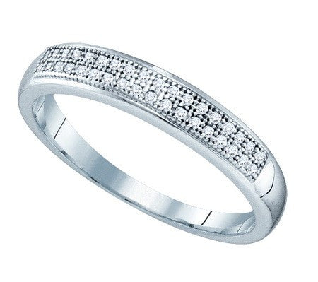 10k White Gold 1/10 Ct Round Diamond Micro-Pave Ring
