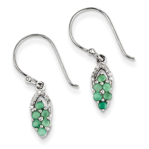 Sterling Silver Round Shape Emerald Dangle Earrings with Accent Diamonds