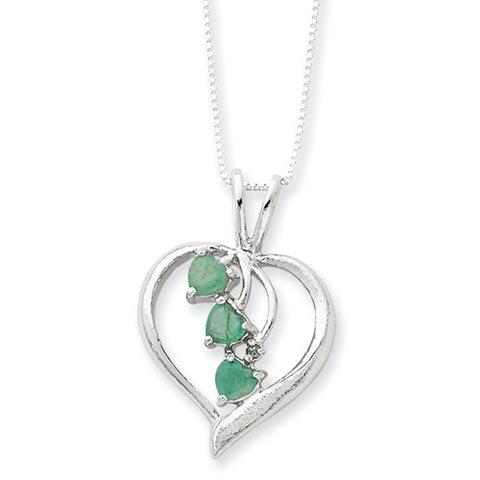 Sterling Silver Emerald Cascading Heart Necklace