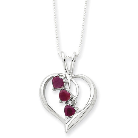 Sterling Silver Ruby Cascading Heart Necklace