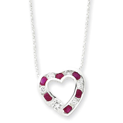 Sterling Silver Ruby & Cubic Zirconia Heart Necklace