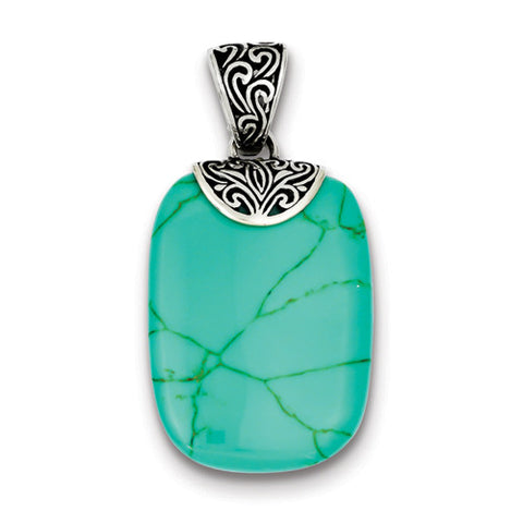 Sterling Silver Antiqued Turquoise Pendant