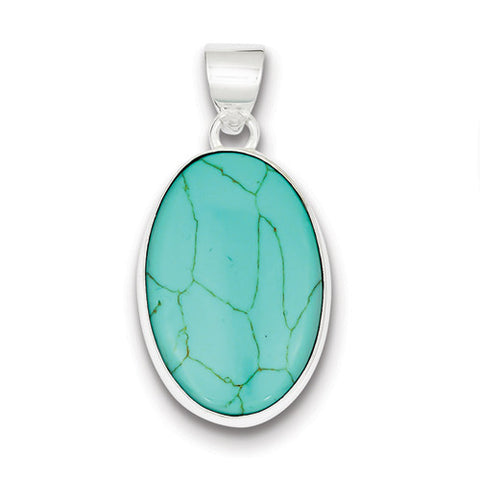 Sterling Silver Turquoise Polished Oval Pendants