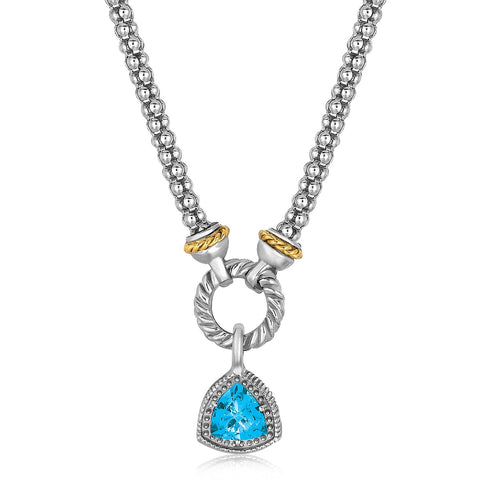 18k Yellow Gold & Sterling Silver Trilliant Cut Blue Topaz Necklace