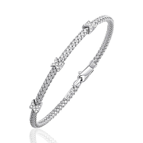 14k White Gold Basket Weave Bracelet with Accent Diamonds