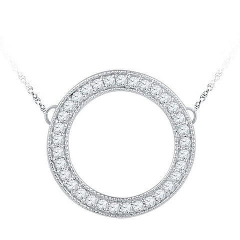 10k White Gold 1/2 Ct Diamond Circle Necklace