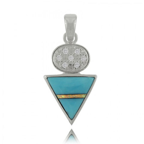 Sterling Silver Turquoise Pendant with Opal and Cubic Zirconia
