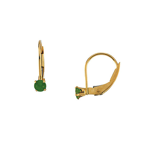 14k Yellow Gold Round Shape Emerald Earrings