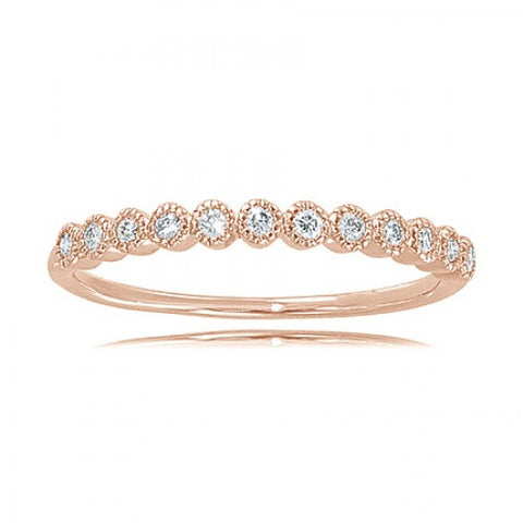 14k Rose Gold Round 1/5 Ct Brilliant Shape Diamond Ring