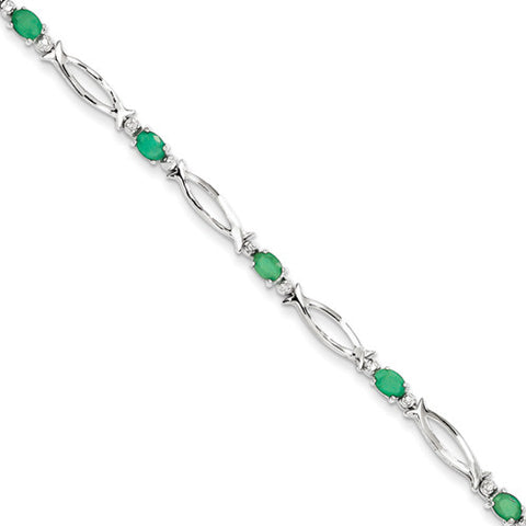 Sterling Silver Oval Shape Emerald Bracelet with Accent Diamonds