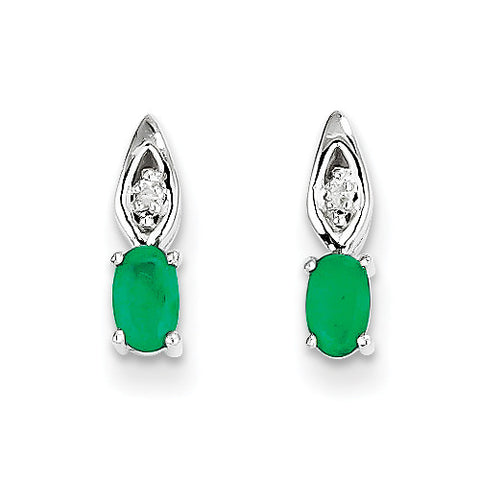 14k White Gold Oval Shape Emerald Drop Earrings with Accent Diamonds