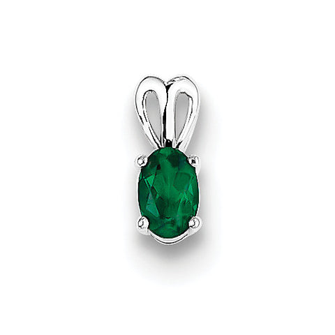 Sterling Silver Oval Emerald Pendant