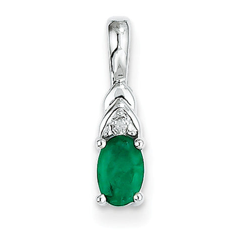 14k White Gold Emerald Pendant with Accent Diamond
