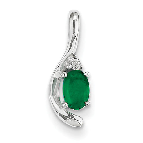 14k White Gold Oval Shape Emerald Pendant with Accent Diamond