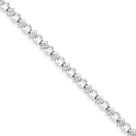 Sterling Silver 1/6 Ct Flower Diamond Bangle Bracelet