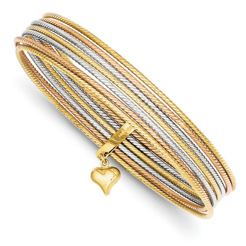 14k Tri-Tone Gold Heart Bangle