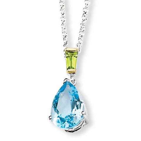 Sterling Silver Pear Cut 1.8 Ct Blue Topaz & Peridot Necklace