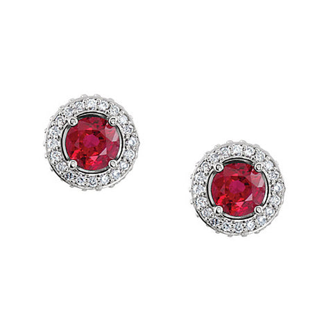 14k White Gold Round Ruby & Diamond Earrings