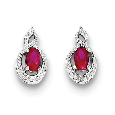 Sterling Silver Oval Ruby Earrings with Accent Diamonds