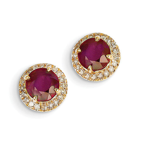 14k Yellow Gold Ruby & Diamond Stud Earrings