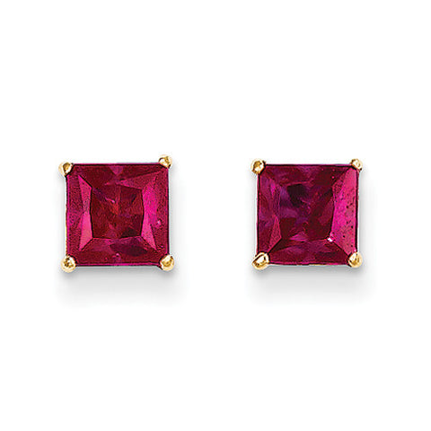 14k Yellow Gold Square Ruby Stud Earrings