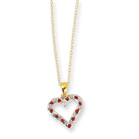 14k Yellow Gold Ruby & Cubic Zirconia Heart Necklace