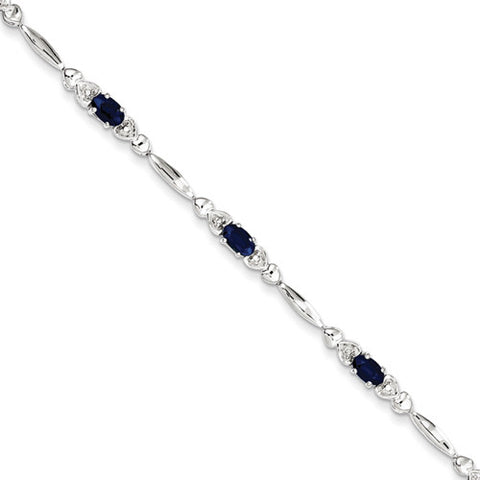 Sterling Silver Oval Sapphire Linke Chain Bracelet with Diamond Accents