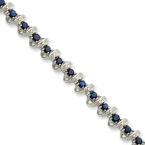 Sterling Silver Round Sapphire Bracelet