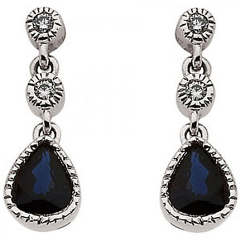 14k White Gold Pear Shape Sapphire Earrings with Accent Diamond