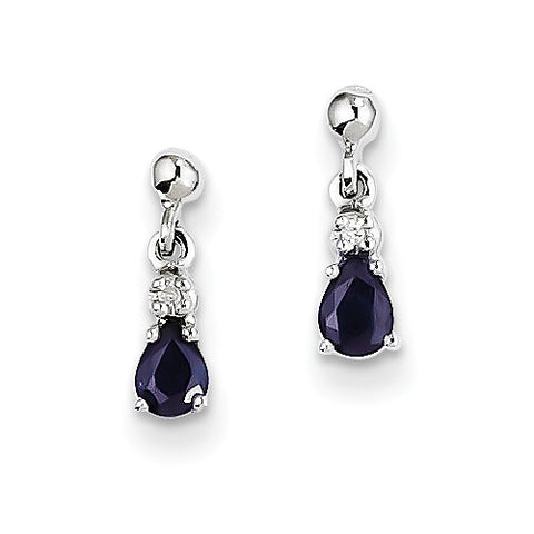 14k Whtie Gold Pear Shape Blue Sapphire with Diamond Accent Earrings