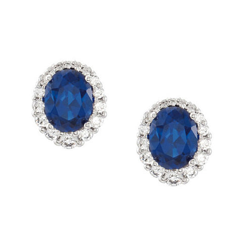 14k White Gold Oval Blue Sapphire & Round Diamond Earrings