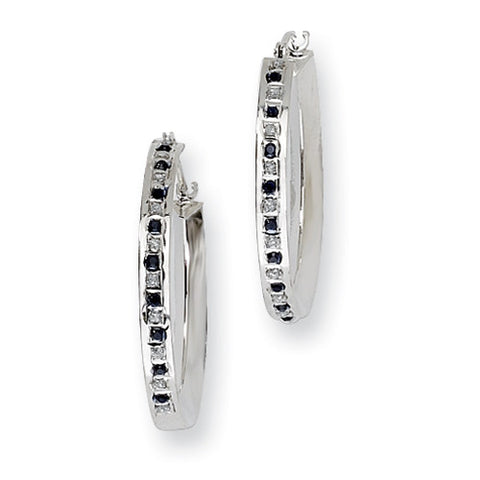 Sterling Silver Diamond & Sapphire Hoop Earrings