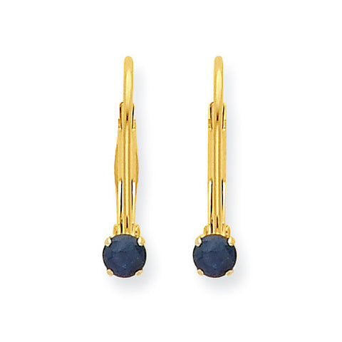 14k Yellow Gold Round Sapphire Earrings