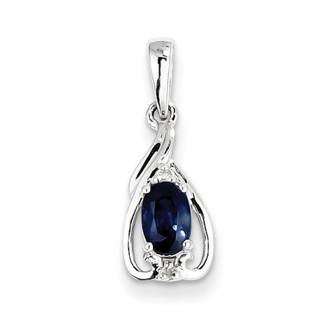 Sterling Silver Oval Blue Sapphire with Diamond Accents