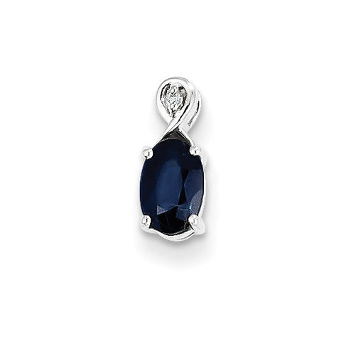 Sterling Silver Oval Blue Sapphire & Diamond Pendant