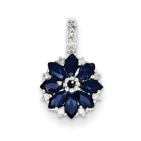Sterling Silver Flower Marquise Blue Sapphire & Diamond Pendant