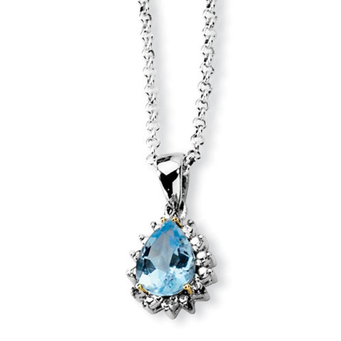 Sterling Silver Pear Cut Blue Topaz Necklace with Accent Diamonds