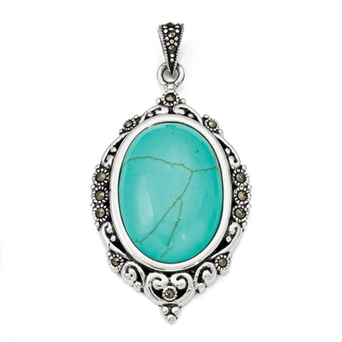 Sterling Silver Turquoise & Marcasite Pendants